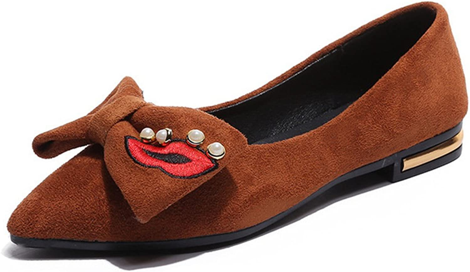 Btrada Women's CZ Bowknot Loafers Penny shoes - Sexy Pointed Toe Red Lip Slip On Flat Dress shoes