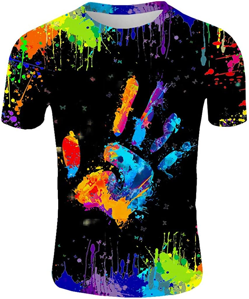 LEIYAN Mens Athletic Running Gym Workout T-Shirts Summer Short Sleeve Crew Neck Active Printed Stylish Tops