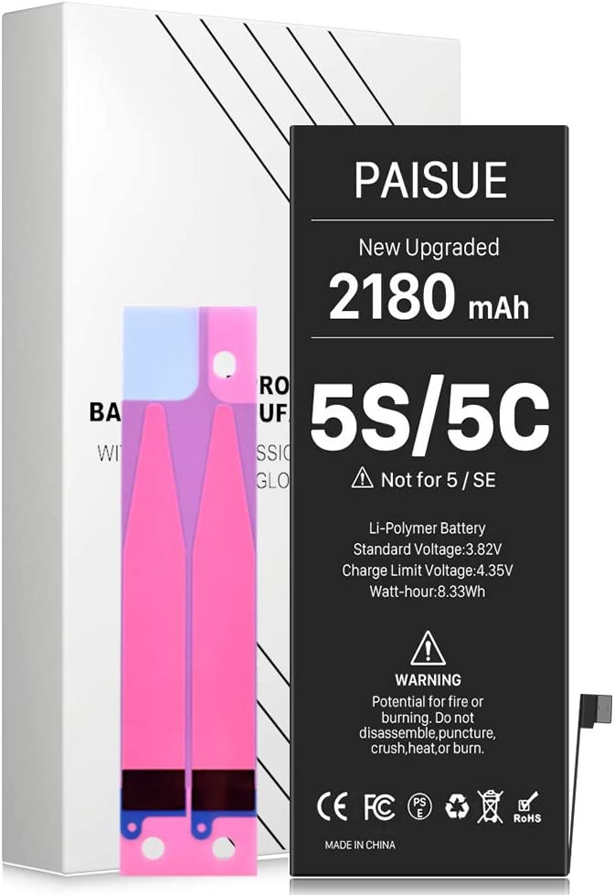 Battery for iPhone 5S and 5C (not 5/SE), Upgraded 2180mAh Higher Capacity New 0 Cycle Replacement Battery for iPhone 5S 5C - No Tool