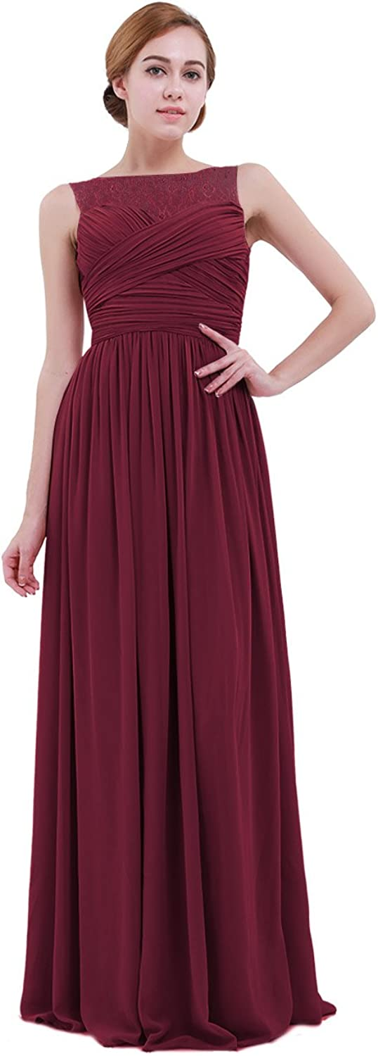IEFiEL Women Lace Illusion Cross Pleats Bridesmaid Dress Long Evening Prom Gown