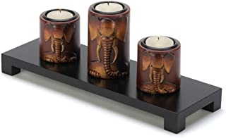 Wooden Elephant Motif Trio Set Tealight Candleholders
