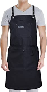DingSay Trendy Apron with Convenient Pockets for Women Men, Professional for Chef Grill BBQ Cooking Hairstylist Painting, Leather Cross Back Straps & Adjustable S to XXL (Black Cotton)