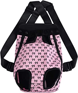 uxcell Pet Dog Carrier Pink Bowknot Adjustable Front Chest Backpack Pet Cat Puppy Holder Bag for Travel Outdoor Medium