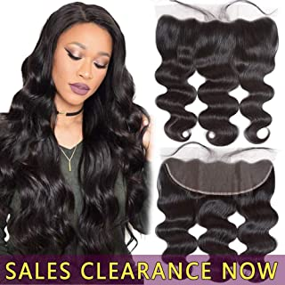 13x4 Ear to Ear Swiss Lace Frontal Closure Pre Plucked With Full Baby Hair Best 9A Brazilian Indian Virgin Hair Extensions Real Cheap Malaysian Peruvian Human Hair Body Wave Wavy One Piece 16 Inches