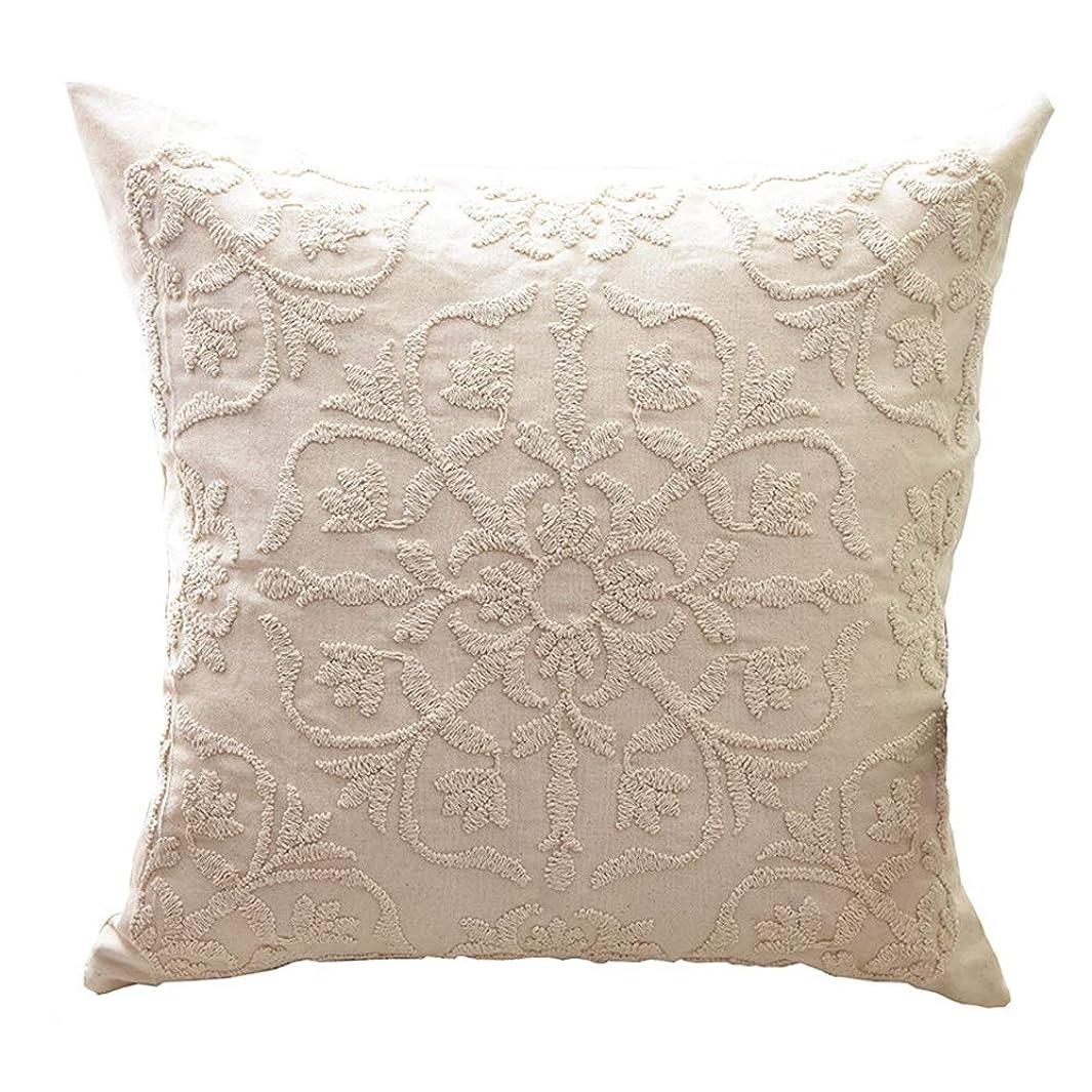 エンドウ大気些細な刺繍枕カバーソファクッション車の枕ファッション花枕(枕コアなし) (色 : 褐色)