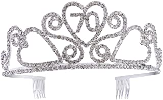 Frcolor Birthday Crowns Rhinestone Birthday Party Tiara With Hair Combs White