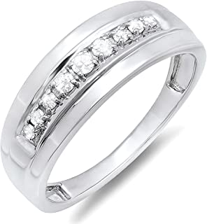 Dazzlingrock Collection 0.23 Carat (ctw) Round Real Diamond Men's Wedding Anniversary Band Ring 1/4 CT, Sterling Silver