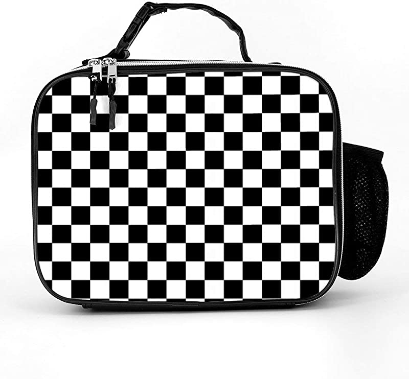 Checkerboard Lunch Box With Padded Liner Spacious Insulated Lunch Bag Durable Thermal Lunch Cooler Pack For Boys Men Women Girls Adults