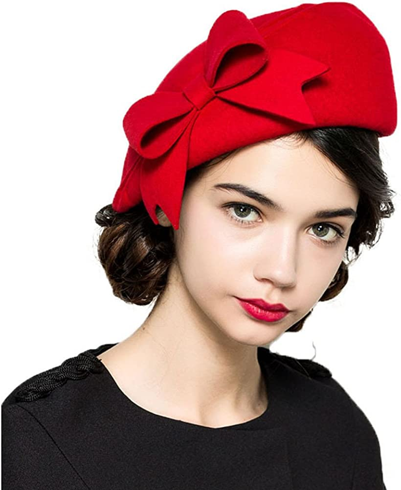 1950s Women's Hat Styles & History F FADVES 100% Wool Beanie Hat French Dress Beret Winter Hat Vintage Fascinator Hats  AT vintagedancer.com