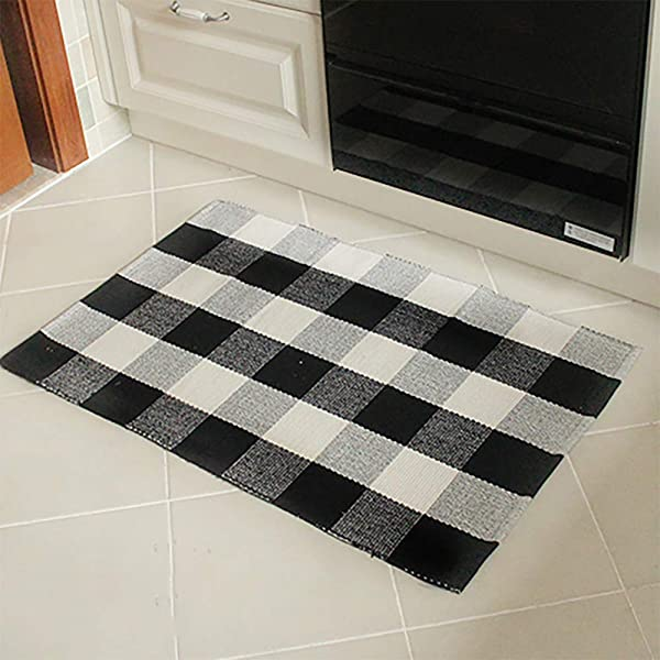 EZHOMEE Cotton Plaid Welcome Rugs 35 4 X23 6 Carpet For Kitchen Bathroom Porch Laundry Living Room Braided Throw Mat Washable Woven Black And White Plaid