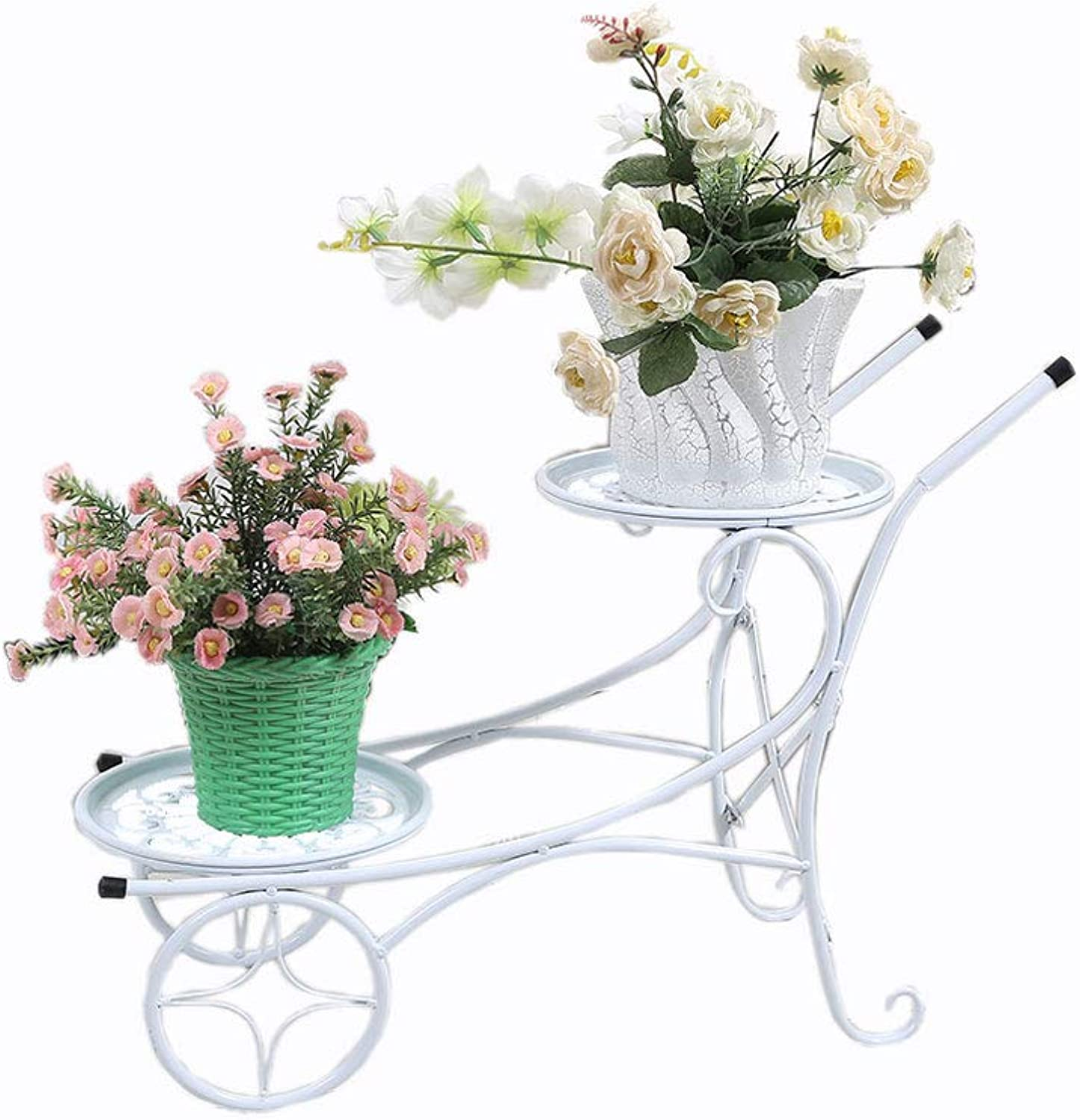 WYNZYHJ Flower Stand, European Multi-Functional Multi-Layer Plant Rack Wrought Iron Living Room Balcony Floor Pot Rack (color   White)