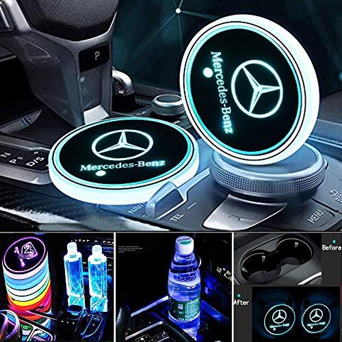 KINBEAR Kabellos LED Getränkehalter Auto Untersetzer 7 Farben USB Lade Becherhalter Lumineszenz Tasse Halter LED innenbeleuchtung Auto Atmosphäre Lampe Dekoration Licht (Mercedes Benz)