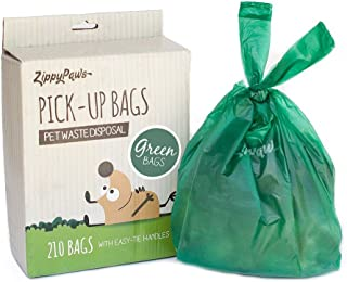 ZippyPaws - Dog Poop Pick-Up Bags, Large Strong Waste Bags with Easy-Tie Handles, Measures 14.5 Inch by 5.5 Inch - 210 Count