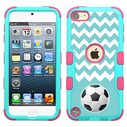 One Tough Shield 3-Layer Hybrid Case (Teal/Pink) for Apple iPod Touch 5 5th / 6 6th Generation - (Chevron/Teal/Soccer)