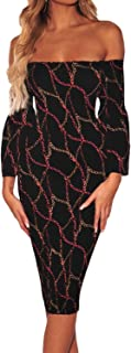 Enggras Women's Chain Printed Flare Sleeve Off Shoulder Cocktail Evening Bodycon Midi Party Dress