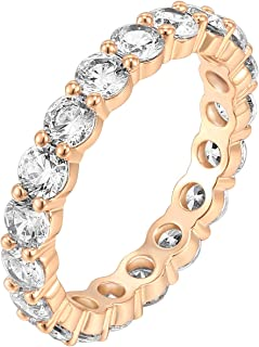 PAVOI 14K Gold Plated Cubic Zirconia Rings   3.0mm Eternity Bands   Gold Rings for Women