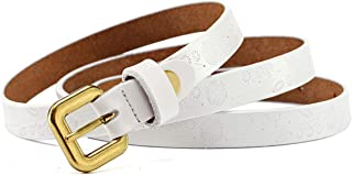 LUKEEXIN Women's Casual Carved Pattern Leather Waist Belt with Single Prong Buckle (Color : White, Size : One Size)