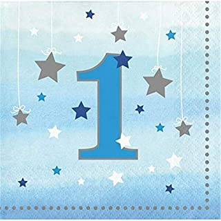 Creative Converting Twinkle One Little Star Boy 1st Birthday 2 Ply Beverage Napkins, 5-Inch x 5-Inch Size, Blue