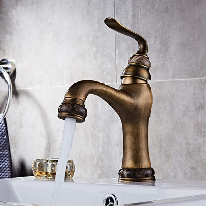 Waschtischarmaturen Massivem Messing Deck Montieren Waschbecken Wasserhahn Einzigen Handgriff Einfach Installieren Vintage Antike Mischbatterie
