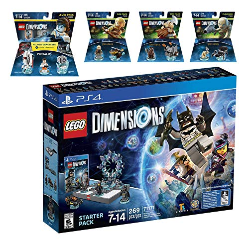 Lego Dimensions Starter Pack + Portal 2 Level Pack + The Lord Of The Rings Legolas Gimli Gollum Fun Packs for PS4 Playstation 4 Console