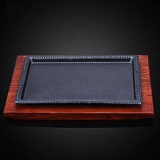 Fuente de hierro fundido Bistec Sartén Rectángulo Plato de la cocina Mundo de sabores Estilo asiático Mini plato de hierro fundido con placa de madera 2 Juego