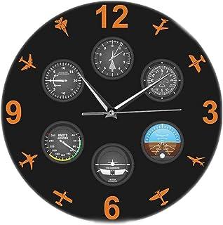 Sticker Wall Clock Aviation Aviator Modern Design Printed Wall Clock Flight Instrument with Military Aircraft Silent TimeP...