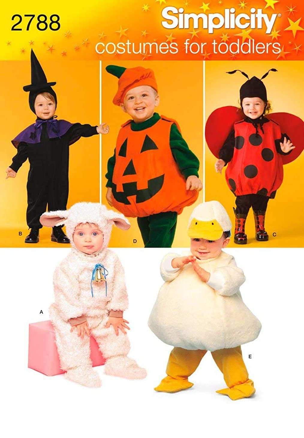 Simplicity 2788 Lamb, Chick, Witch, Pumpkin and Lady Sewing Pattern for Toddlers Halloween Costume, Sizes A 1/2-4
