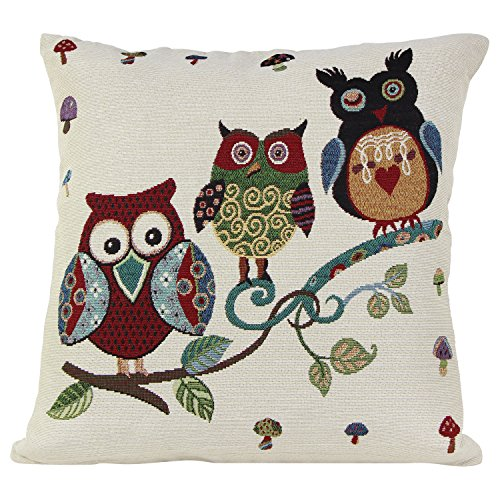 Puredown Jacquard Throw Pillow Covers Cushion Cover Decorative Cushions Bird Pattern Square 18X18 Inch Multicolor
