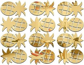 Colorido 12Pcs/Set Cute Pineapple Acrylic Mirror Wall Stickers Decal Room Decor size Medium (Golden)