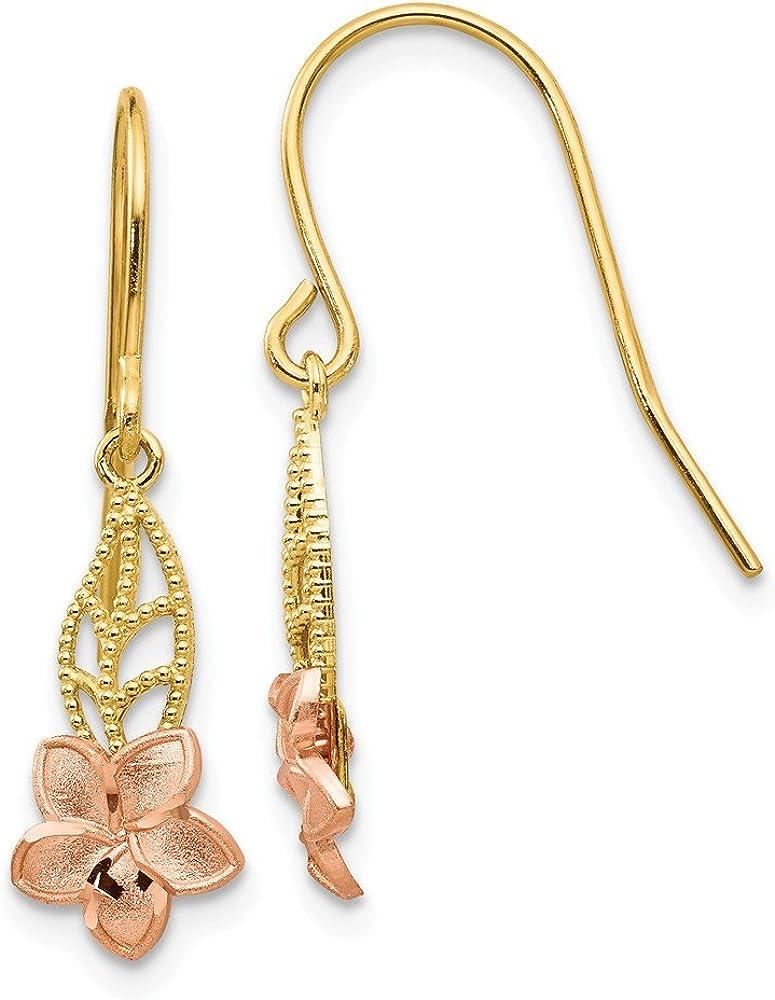 14k Yellow and Rose Gold Fancy Plumeria Dangle Earrings (L-24 mm, W-7 mm)