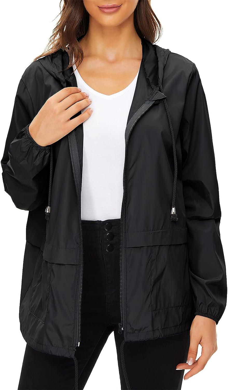 Century Star Plus Size Rain Jackets for Women Waterproof Windbreaker Lightweight Packable Rain Coats with Hood