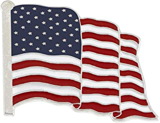 Forge American Flag Enamel Lapel Pin Wholesale- Proudly Made in USA (Silver Tone)
