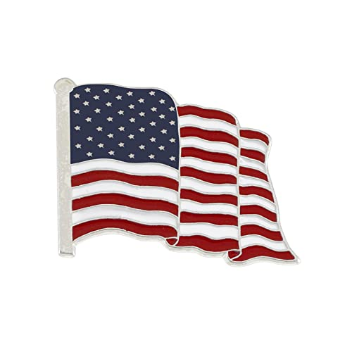 87e4330661f8a7 Forge American Flag Enamel Lapel Pin Wholesale- PROUDLY MADE IN USA (Silver  Tone)