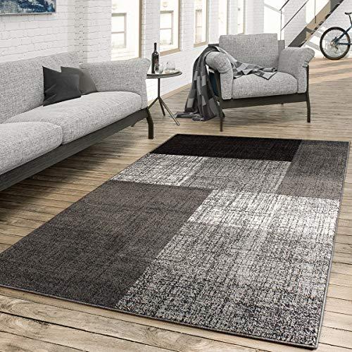 Paco Home Designer Teppich Modern Kariert Kurzflor Design Meliert In Grau Creme Braun, Grösse:80x150 cm