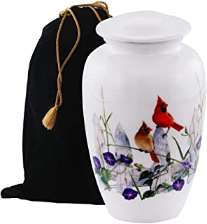 Eternitymart's Serenity Painted Cremation Urn - Affordable Metal Urn - Hand Painted Solid Metal Urn for Ashes, Adult Cremation Urn with Free Velvet Bag (Morning Cardinal)