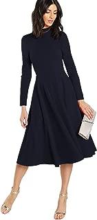 Floerns Women's High Neck Plaid Fit & Flare Midi Dress