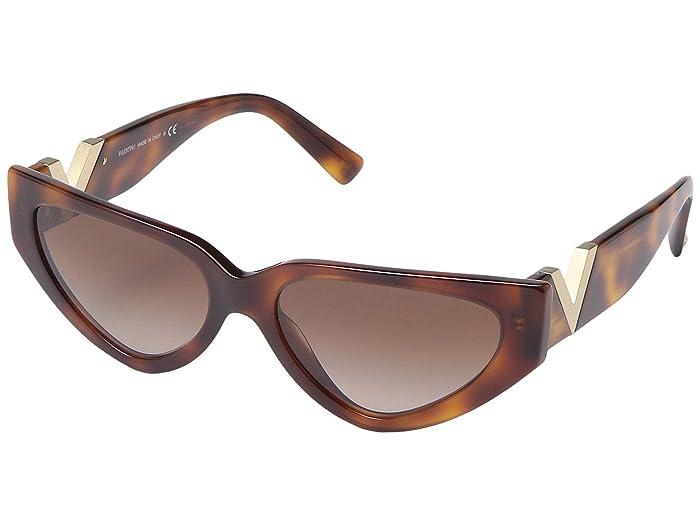 Valentino 0VA4063 (Havana/Gold) Fashion Sunglasses