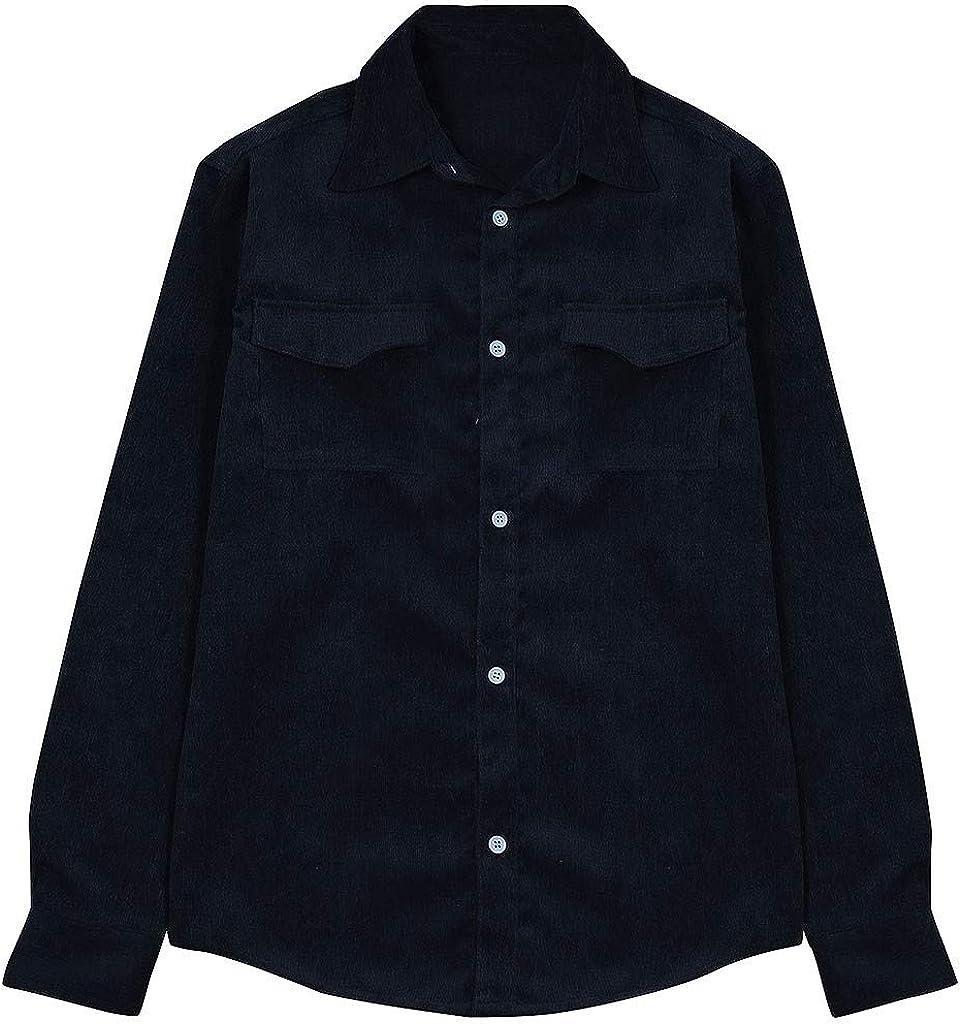 MODOQO Men's Shirts Fashion Long Sleeve Casual Solid Blouse Tops Button Down Shirts