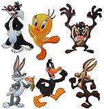 alles-meine.de GmbH 4 TLG. Set: Bügelbilder - Looney Tunes - Circa 5,4 cm * 7,4 cm - Tweety - Sylvester - Daffy Duck - Bugs Bunny - Coyote - Tasmanischer Teufel - Comic Figur - A..