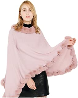 Funnygals - Ladies' Cape Layers Poncho Shawl with Faux Fur Trim, Crochet Poncho Knitting Patterns for Women