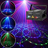 SUNY Laser Lights DJ Stage Lighting 12 Gobos Green Blue Laser Light Red Stars Mixed Effect Stage Lighting Party Music Laser Projector Remote Control Sound Activated Dance Home Decor Xmas Holiday Show