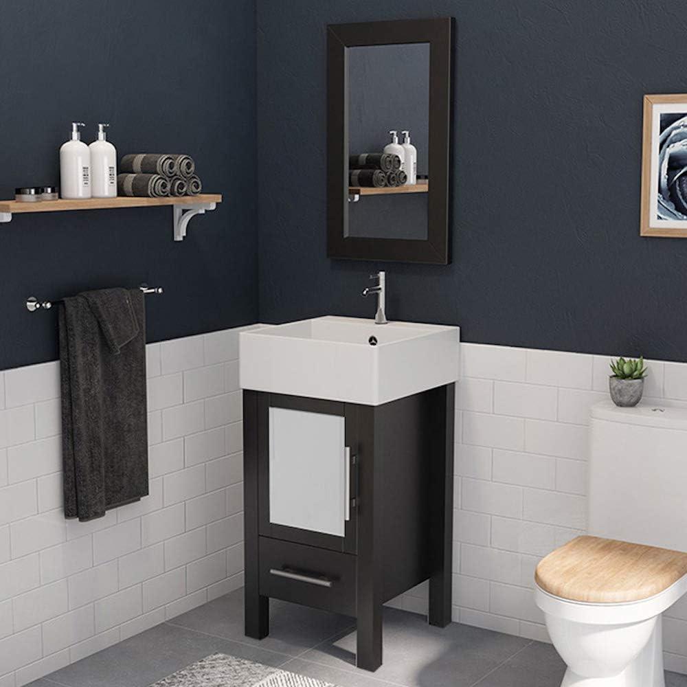 18 Inch Espresso Wood Porcelain Bathroom Vanity Set Stone Chrome Faucet