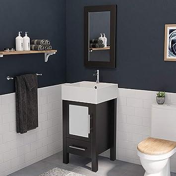 18 Inch Espresso Wood Porcelain Bathroom Vanity Set Stone Chrome Faucet Amazon Com