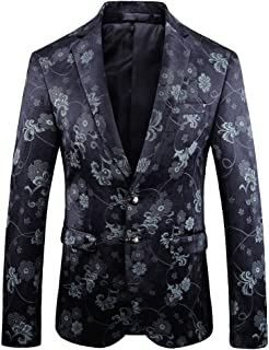 YOUTHUP Mens Blazers Slim Fit 2 Button Floral Blazer Flowers Pattern Chic Jackets