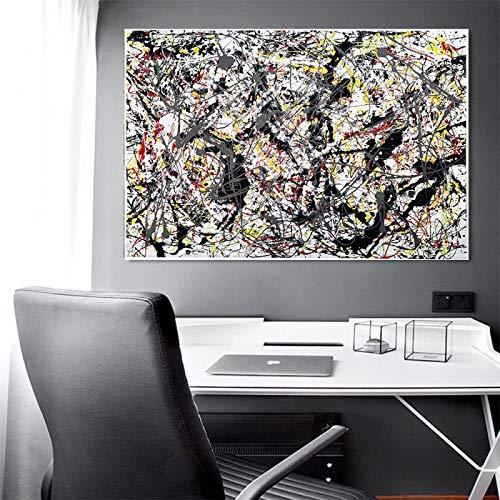 Impresión en lienzo Jackson Pollock 《Plata sobre negro, blanco, amarillo y rojo》 Lienzo Arte moderno Pintura al óleo Imagen Decoración para el hogar 50x75cm Sin marco