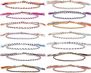 GOODCHANCEUK - 14 braccialetti dell'amicizia colorati, fatti a mano, con corda intrecciata regolabile, per donne, adolesce...