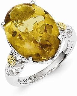 925 Sterling Silver 14k Whiskey Quartz Band Ring Stone Gemstone Fine Jewelry For Women Gift Set