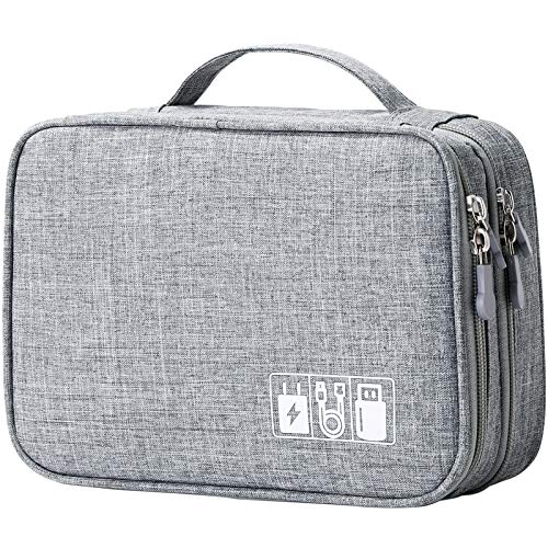 Travel Cable Organizer Bag, Electronic Accessories Case Portable Double Layer Cable Storage Bag for Cord,Phone,Charger, Flash Drive, Phone, SD Card,Personal Items - (Grey)