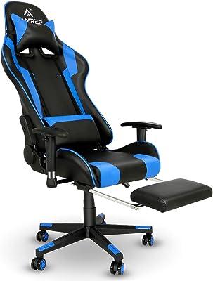 FAMREE ゲーミングチェア オフィスチェア パソコンチェア デスクチェア リクライニング ゲーム用チェア レザー パソコンチェア 腰痛対策 事務椅子 ヘッドレスト チェア ひじ掛け付き 180°リクライニング可能 高さ調節可能 チェア 伸縮可能のオットマン 360°回転静音キャスター 耐重136KG