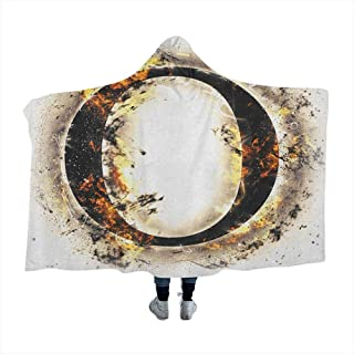 GGACEN Letter O Hooded Blankets Magical Alphabet on Fire Abstract Concept Hot and Fiery Letter O Plasma Smoky Look for Adults Teens Playing Games Chair Bedroom Tan Black Orange 80x60 inches